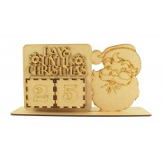 Laser Cut Perpetual Santa Head Christmas Countdown on a Stand