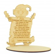 Laser cut 6mm Elf with Hanging Personalised Plaque on a Base