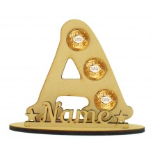 6mm Personalised Plain Letter Ferrero Rocher or Lindt Chocolate Ball Holder on a Stand - Stand Options