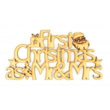 Laser cut 'First Christmas as Mr & Mrs' Santa sign.