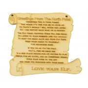 Laser cut 'Greetings from the north pole' Elf Plaque