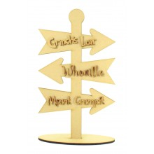 Laser Cut 6mm The Grinch Themed Direction Arrows on a Stand with 3mm Wording
