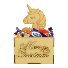 Laser Cut Christmas Hamper Treat Boxes - Unicorn Shape