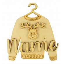 Laser Cut Personalised 3D Christmas Jumper Decoration - Reindeer Head