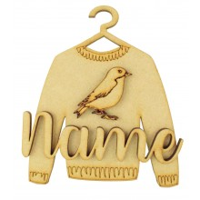 Laser Cut Personalised 3D Christmas Jumper Decoration - Robin