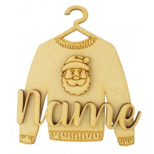 Laser Cut Personalised 3D Christmas Jumper Decoration - Santa Head