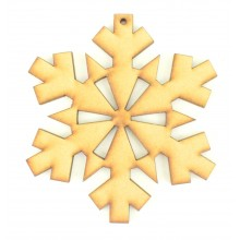 Laser Cut Snowflake Shape with cut out detail and a hole
