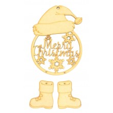 Laser Cut 'Merry Christmas' Santa Dream Catcher with Hanging Boots