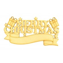 Laser cut 'Merry Christmas' Quote Sign with Blank Banner To Add Vinyl