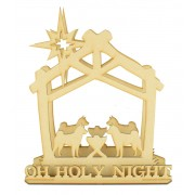 Laser Cut 'OH HOLY NIGHT' 3D Dog's Nativity Scene Tea Light Holder on stand