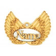 Laser Cut Personalised Angel Wings Christmas Bauble - 100mm Size - Vic Font