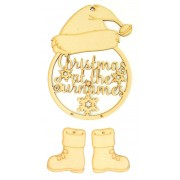 Laser Cut Personalised 'Christmas At The...' Santa Dream Catcher with Hanging Boots