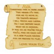 Laser cut Personalised Elf Plaque