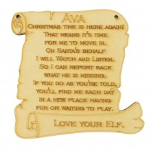 Laser cut Personalised Elf Plaque