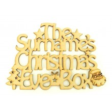 Laser cut Personalised Family Surname 'Christmas Eve Box' Santa sign.