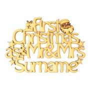 Laser cut Personalised 'First Christmas as Mr & Mrs' with a Surname - Santa sign.