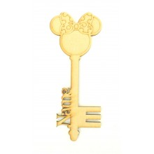 Laser Cut Personalised Magic Detailed Mouse Head with Bow Christmas Key
