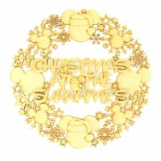 Laser Cut Detailed Mouse Head and Snowflake Wreath with Personalised 'Christmas at the...' Sign