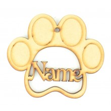 Laser Cut Personalised Pet Paw Shape Bauble - 100mm Size