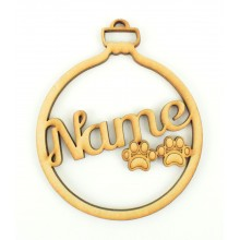 Laser Cut Personalised Pet Bauble with Paw Prints inside - 100mm Size