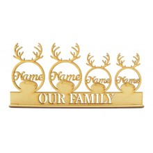 Laser Cut Personalised Reindeer Bauble Family on a Stand - 3mm
