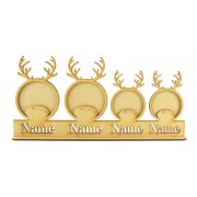 Laser Cut Personalised Photo Frame Reindeer Bauble Family on a Stand with Stencil Names - 3mm