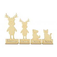 Laser Cut Personalised Single Reindeer Family - Stencil Names in Plinths