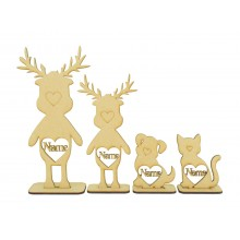 Laser Cut Personalised Single Reindeer Family - Names in Hearts