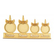 Laser Cut Personalised Photo Frame Unicorn Bauble Family on a Stand with Stencil Names - 3mm