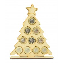 Laser cut Christmas Tree £1 Coin Holder on a Stand