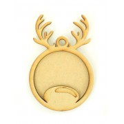 Laser Cut Reindeer Head Photo Frame Bauble