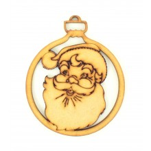Laser Cut Detailed Santa Head Christmas Bauble