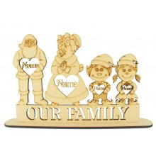 Laser Cut Personalised Christmas 'Mr & Mrs Claus Family on a Stand - 6mm
