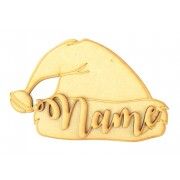 Laser cut Personalised 200mm Christmas Shape with 3D Name - Santa Hat Design