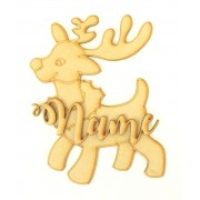 Laser cut Personalised 200mm Christmas Shape with 3D Name - Reindeer Design