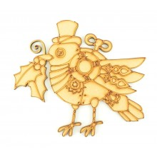Laser cut Steampunk Christmas Robin Shape