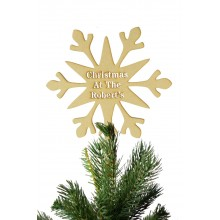 Laser Cut Personalised 'Christmas at the...' Stencil Cut Snowflake Christmas Tree Topper