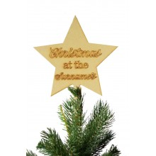 Laser Cut Personalised 'Christmas at the...' Etched Star Christmas Tree Topper