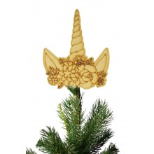 Laser Cut Unicorn Horn with Flowers Christmas Tree Topper