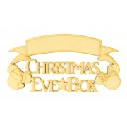Laser cut 'Christmas Eve Box' Quote Sign with Mouse Heads - Blank Banner To Add Vinyl