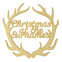 Laser Cut Personalised 'Christmas At The...' Antlers Wall Art Hoop - Size Options