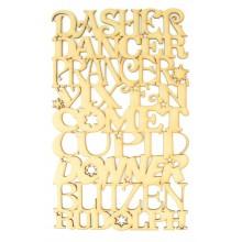 Laser Cut Santas Reindeer Sign - Dasher, Dancer, Prancer, Vixen, Comet, Cupid, Donner, Blitzen, Rudolph