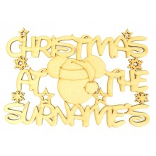Laser Cut Personalised 'Christmas At The...' Sign with Santa Mouse - Size Options