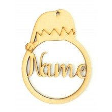 Laser Cut Personalised Elf Hat Christmas Bauble - Bob Font