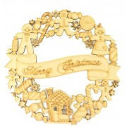 Laser Cut Detailed 'Merry Christmas' Gingerbread and Sweeties Wreath