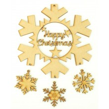 Laser Cut 'Happy Christmas' Snowflake Dream Catcher with Hanging Snowflakes