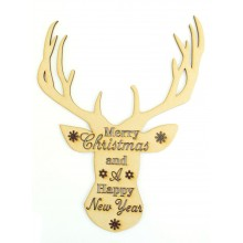 Laser cut 'Merry Christmas and A Happy New Year' Stag Head Quote Sign