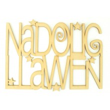 Laser cut 'Nadolig Llawen' Welsh Christmas sign with stars