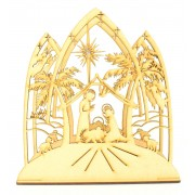 Laser Cut 3D Christmas Nativity Scene Tealight Design on a Stand