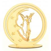 Laser Cut 3D Guardian Angel Moon Tealight Design on a Stand
